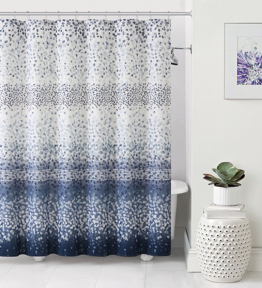 White And Silver Shower Curtain Rizzy Home Cable Embroidered