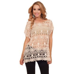 Hot From Hollywood Laser Lace Embroidered See Through Cover Up Loose Fit Scoop Neck Batwing Top