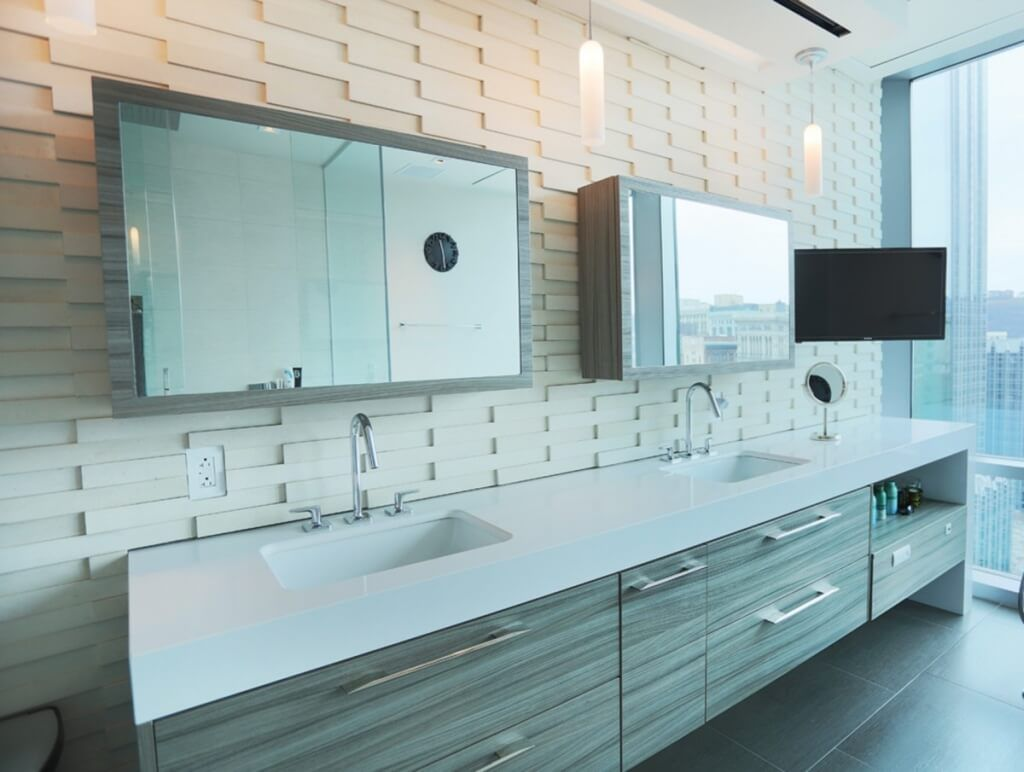 Furniture Large Mirror Sliding Door Bathroom Vanity And Rectangle Medicine Cabinet Recessed