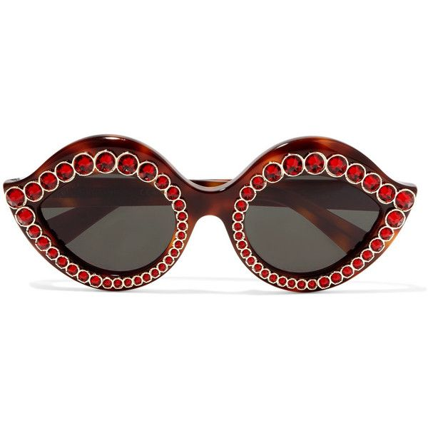 3e3fe2e11c1 Gucci Crystal-embellished cat-eye acetate sunglasses ( 720) ❤ liked on Polyvore  featuring accessories