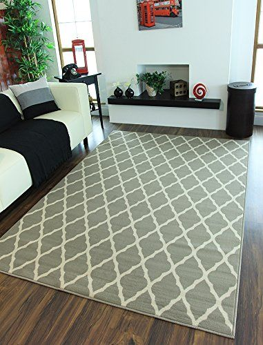 Milan Soft Touch Classic Grey Trellis Print Rug 1799-H22 - 5 Sizes ...