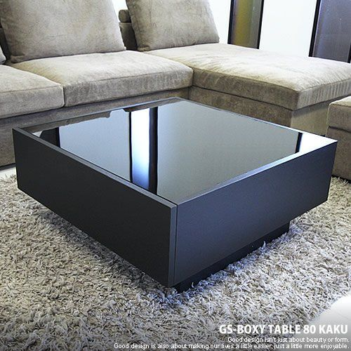 GENERAL SHAPE(ジェネラル シェイプ) センターテーブル ガラステーブル ローテーブル コーヒーテーブル オークブラック 黒 木製 引き出し 収納 国産 完成品 [GS-BOXY GLASS TABLE / 80角 正方形/BK]