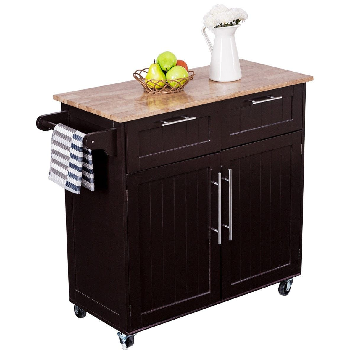 Costway Rolling Kitchen Cart Island (Blue) Heavy Duty Storage Trolley  Cabinet Utility Modern