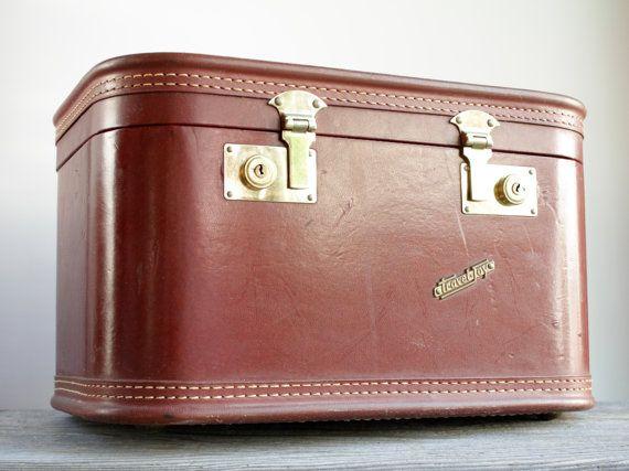 Vintage Train Case / Make Up Case / Luggage Trunk - Travel Joys - Brown Leather