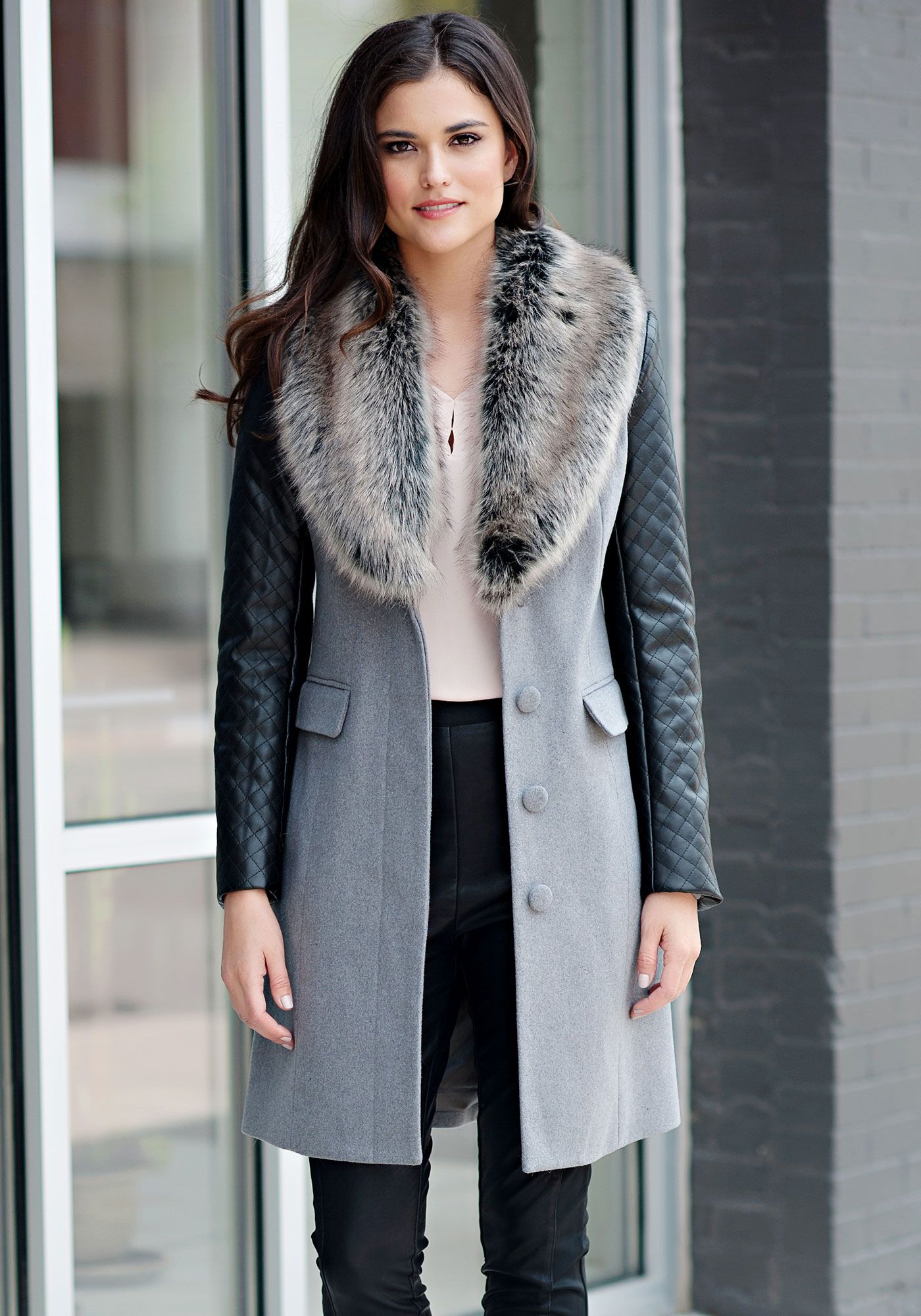 a698242b133b Grey Faux Wool Knee-Length Coat with Faux Fur Collar