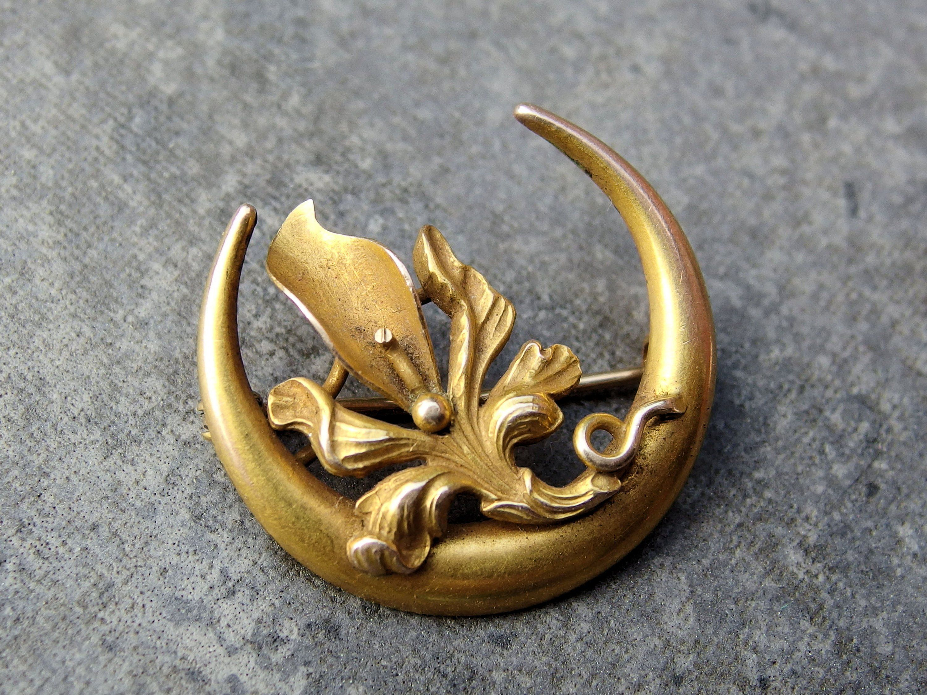 10k Gold Crescent Moon, Flower Honeymoon Pin or Brooch, Victorian to Edwardian Period, Traditional Groom to Bride Gift, Signed, Orchid, Moon #edwardianperiod