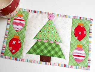 Cozy Christmas Tree Mug Rug.  Created for the Cozy Christmas Sew Along using Lori Holt's Sew Simple Christmas shapes and Cozy Christmas fabric and pattern.