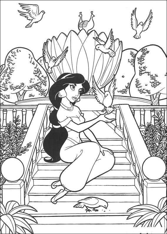 Figuras De La Princesa Jasmin Para Colorear Disney