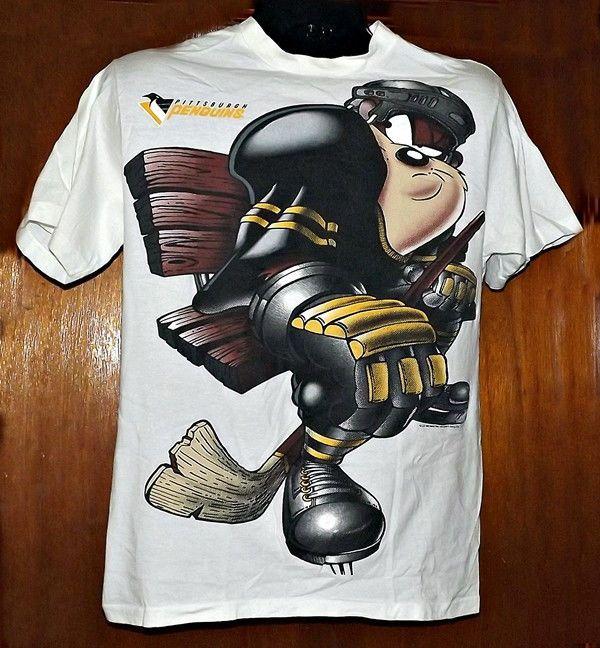 Tazmanian Devil Pittsburgh Penguins T Shirt Vintage Logo Looney Tunes Large  EUC