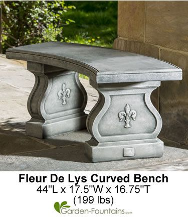 Fleur De Lys Curved Bench Beautiful And Simple Stone