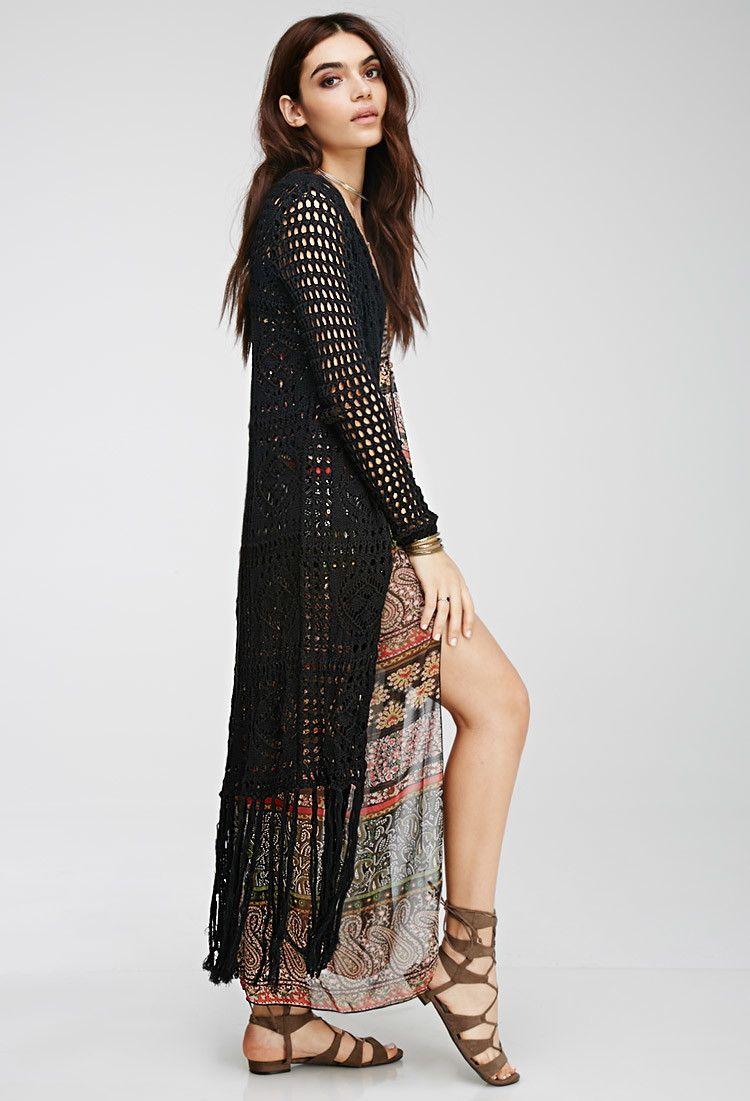 LAST ONE‼ Boho Crochet Fringe Maxi Cardigan Vest Boutique | Maxi ...