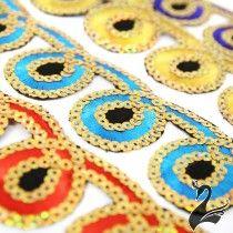 www.houseofadorn.com - Sequin Trim - Iron-On Embroidered Loop-de-loop 4.5cm Style 5113 (Price per 1.2m length)