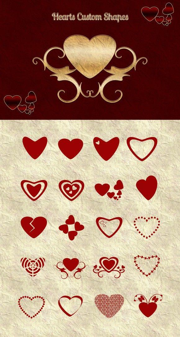 Heart Custom Shapes. Photoshop Shapes. $4.00