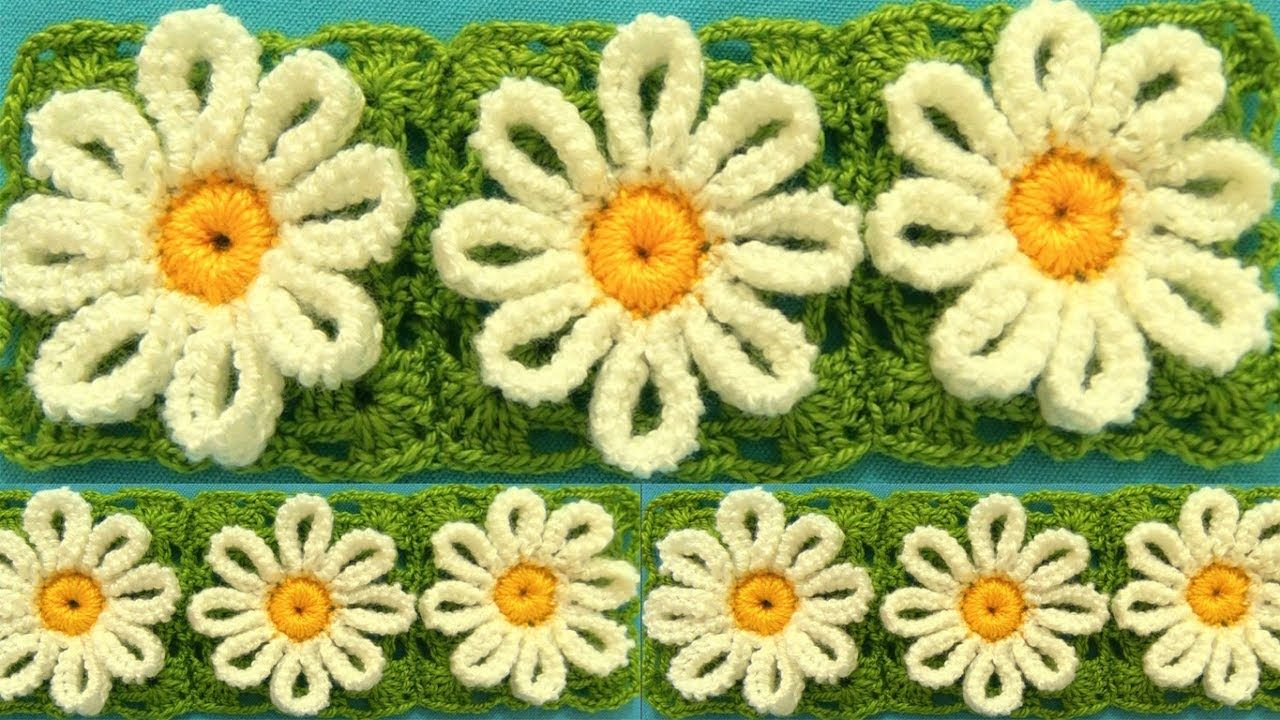 Como tejer a Crochet flores margaritas en punto tunecino blusas ...