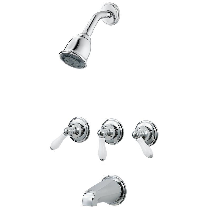 3 Handle Thermostatic Tub And Shower Faucet With Trim Tub And Shower Faucets Shower Faucet Shower Tub