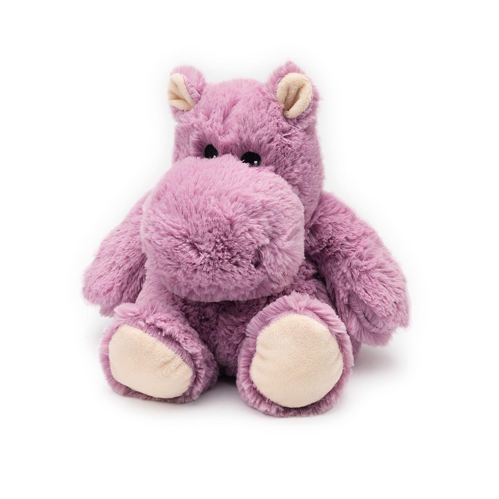 "13"" Pink and White Microwavable Plush Hippopotamus Stuffed"