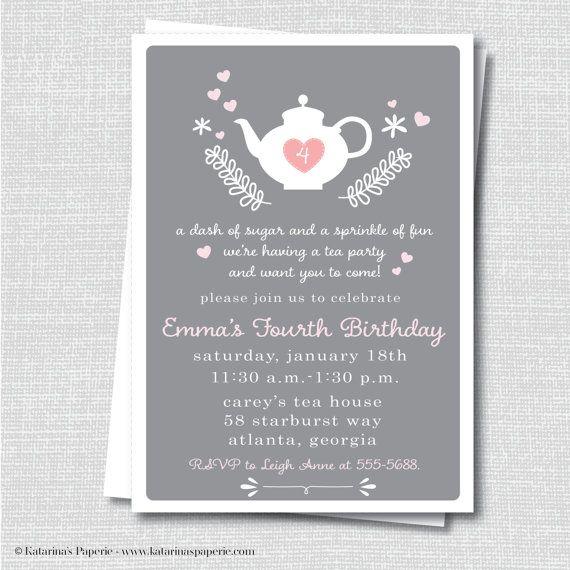 Afternoon Tea Party Invite - Modern Tea Party Birthday - Digital - fresh birthday invitation jokes