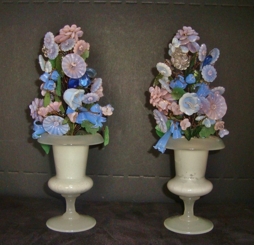 Decorative Urns Vases Extraordinary Pair Of Antique Victorian Italian Decorative Glass Floral Mantle Design Ideas