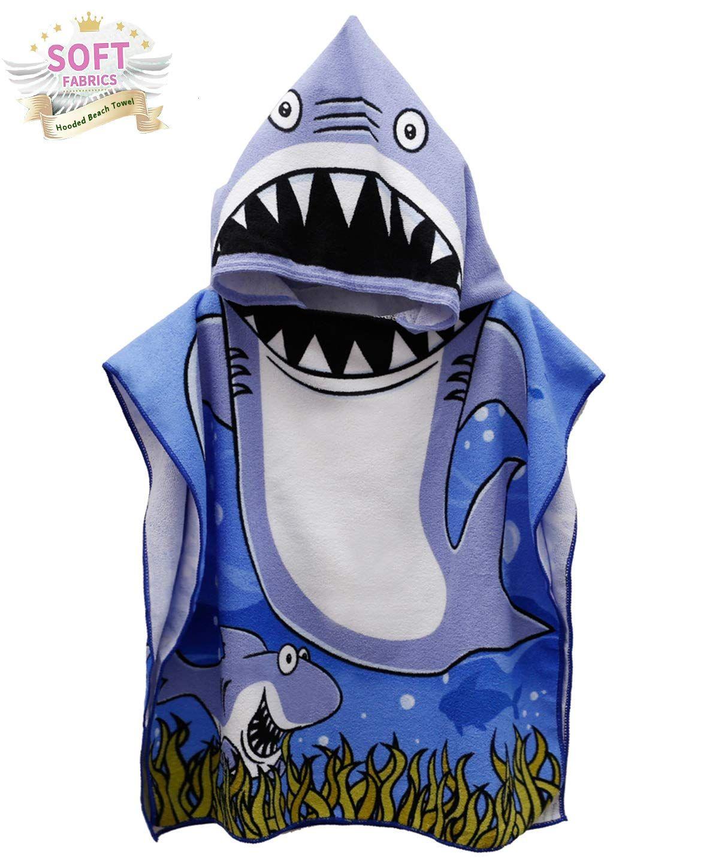 Toddler Hooded Beach Bath Towel Shark Soft Swim Pool Coverup