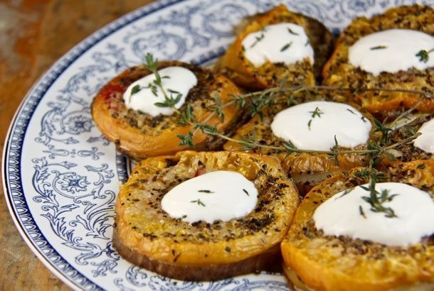 Baked Eggplant and Tomatoes Topped with Garlic Yog