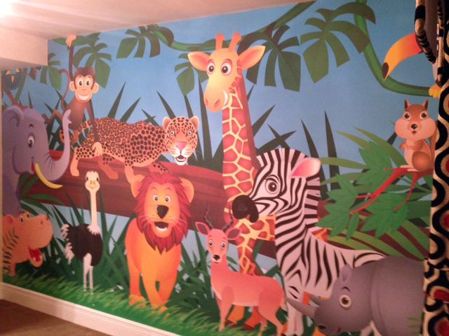 jungle animals wallpaper mural | jungle animals, children and