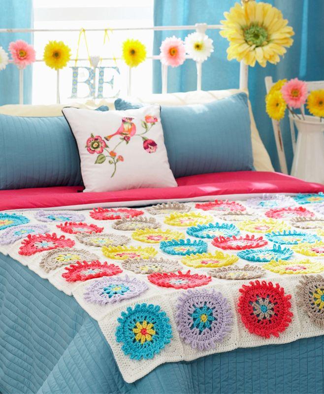 Colorful Cogs Afghan Free Crochet Pattern Diy Blanket Diy
