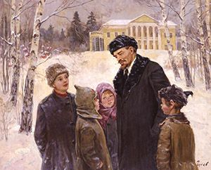 """Lenin with children in the manor ""Corki"""" by Vladimir Gusev, oil on   canvas, 120x150 cm."