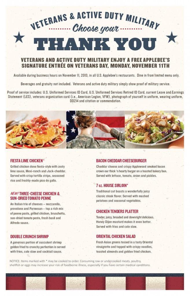 Veterans Day menu applebee's Veterans day, Applebee's