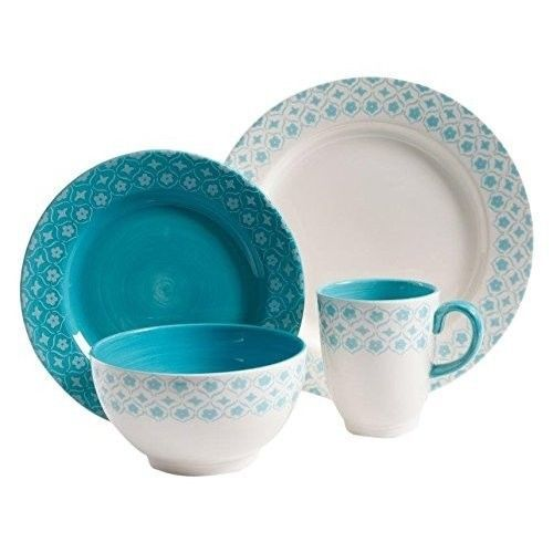 16 Piece Dinnerware Set Service for 4 Style Durable Hand Painted Dishwasher Safe #16PieceDinnerwareSet
