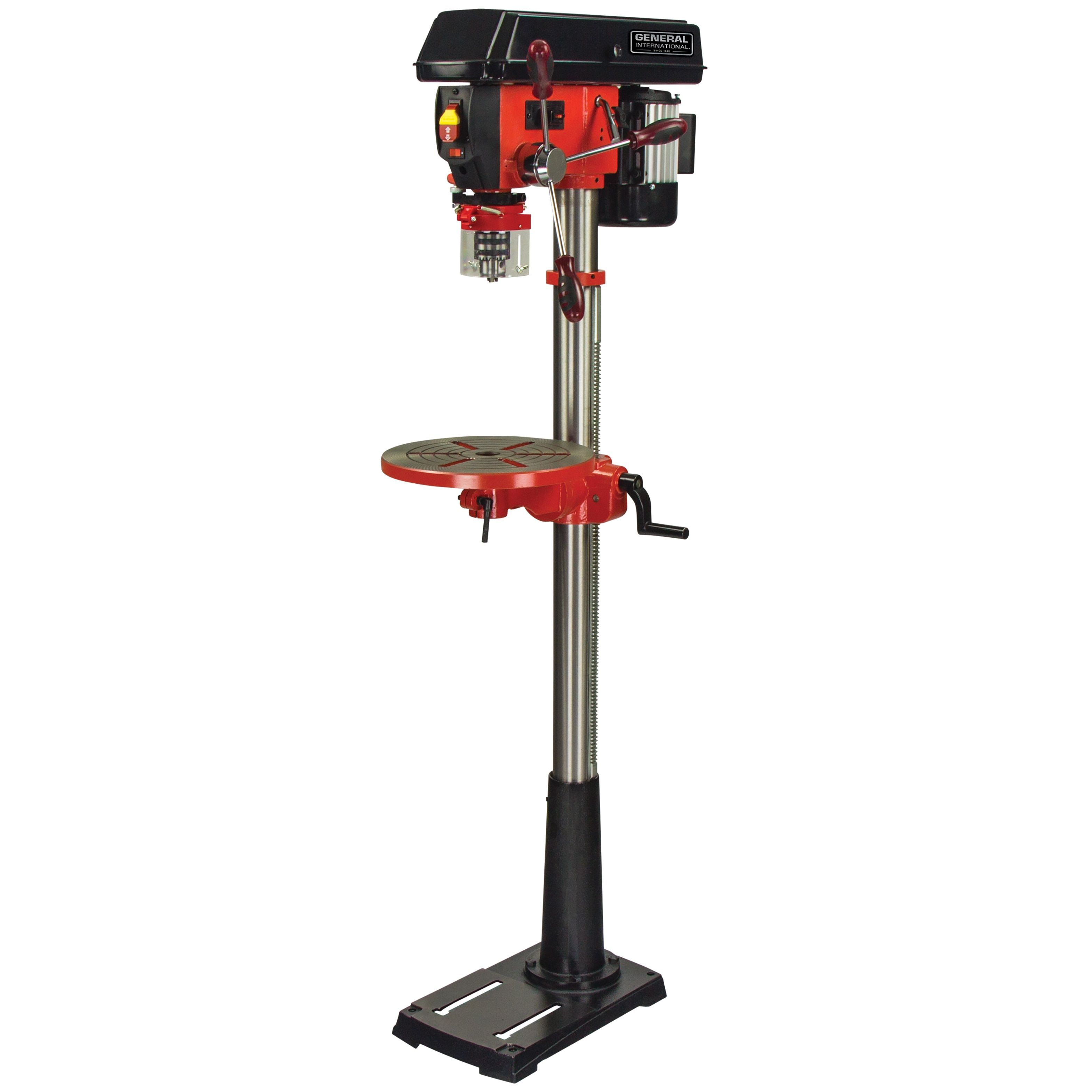 General International 13 Inch 16 Speed Drill Press With Patented Cross Pattern Laser System Led Lighting Stationary Tools Red Products In 2019 Speed