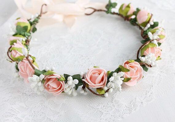 LUOEM Diadema con corona de flores Diadema con flor de rosas Disfraz Corona con flores de rosas para fiesta en la playa Fotograf/ía de vacaciones Colorido