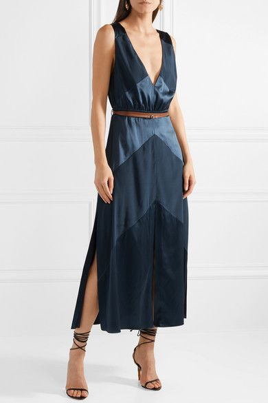 Thursday Belted Silk-blend Satin And Crepe De Chine Midi Dress - Blue Altuzarra