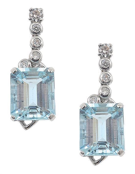 A Pair Of Brilliant Cut Diamond And Emerald Aquamarine Drop Earrings By Leonard Joel