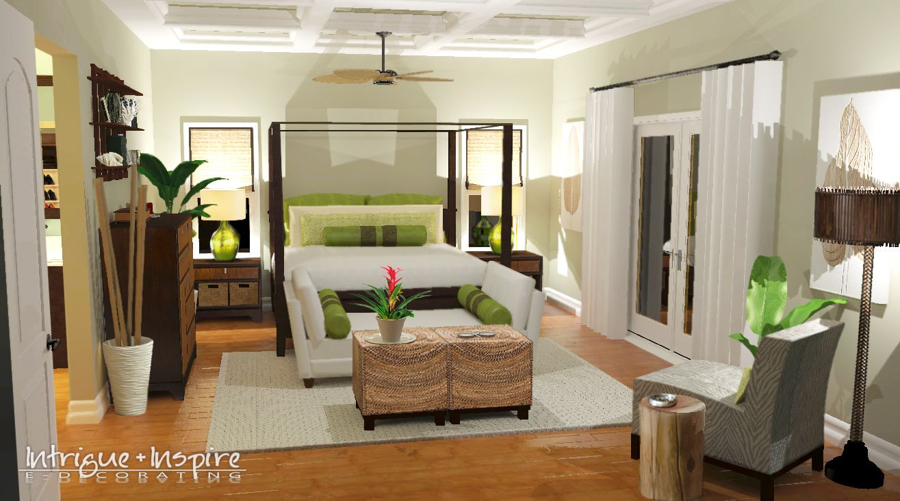 Our e-decorating 3-D rendering for an island-boutique hotel style master bedroom in Coronado, CA.  www.intrigueandinspireedecor.com