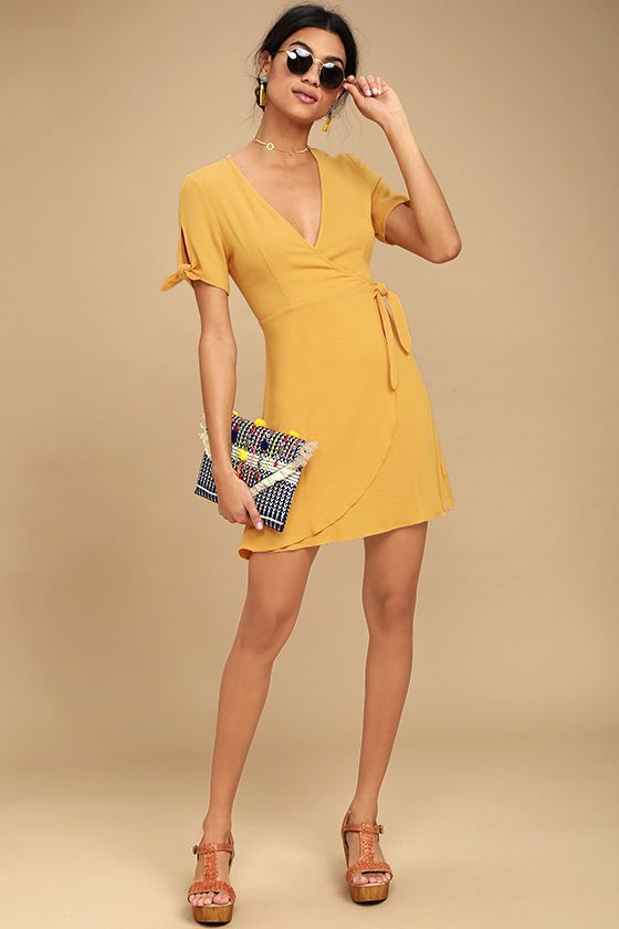 5bb8db05981 MY PHILOSOPHY GOLDEN YELLOW WRAP DRESS | FASHION ** | Wrap dress ...