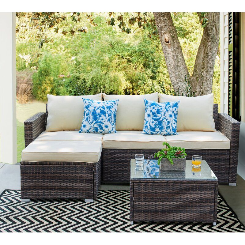 Don 3 Piece Rattan Sectional Seating, For Living 3 Piece Wicker Patio Sectional Set With Cushions