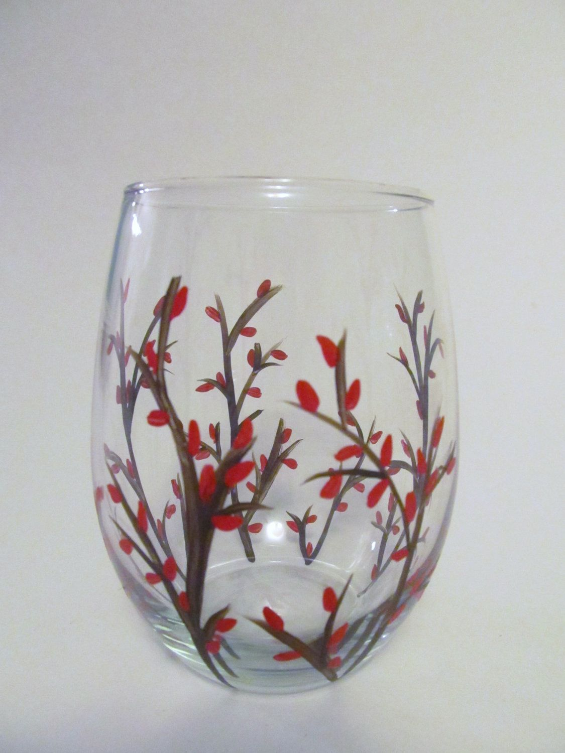 Christmas stemless wine glasses hand painted set of two for Painted stemless wine glasses