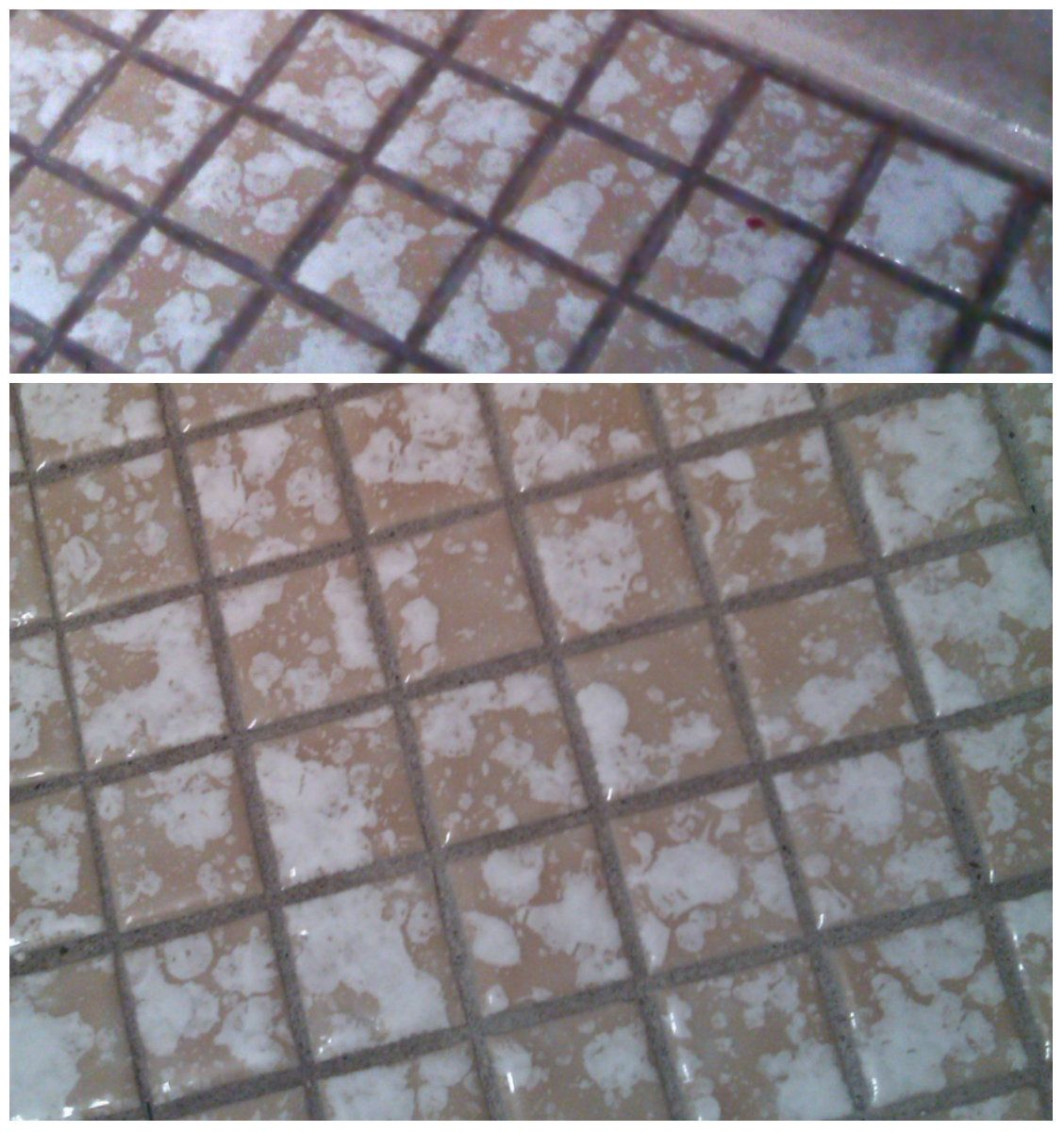 Cleaning Grout On Small Bathroom Tile Floor With Oxiclean.