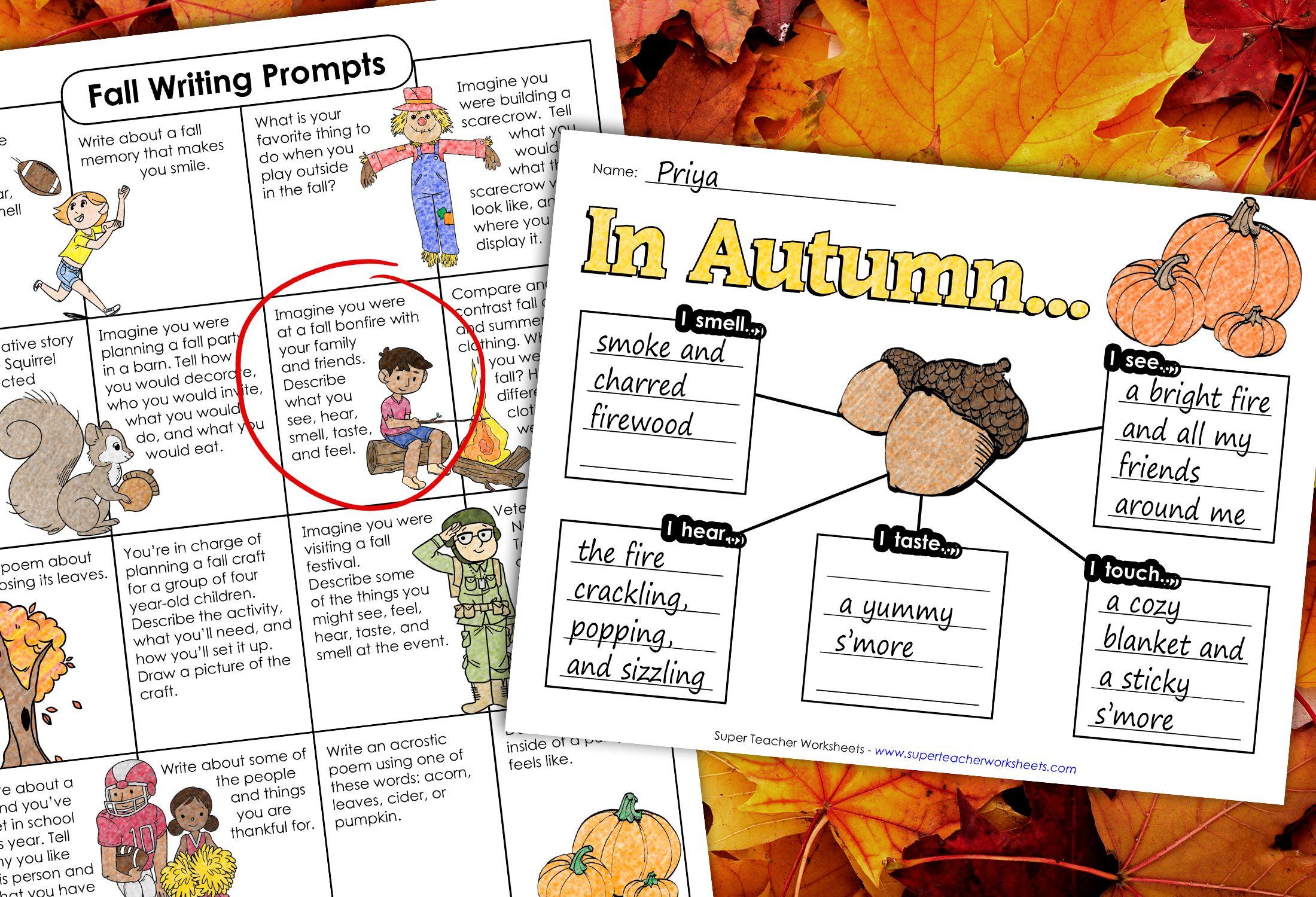 Fall Writing Prompts Fall Writing Fall Writing Prompt Fall Worksheets [ 1500 x 2200 Pixel ]