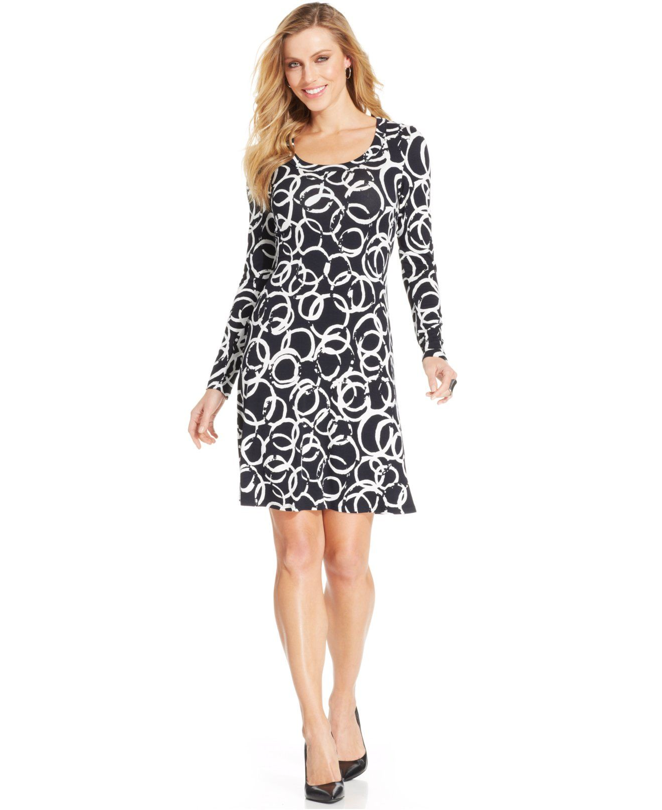 Karen Kane Black and White Printed A Line Dress - Dresses - Women ...