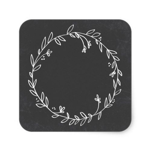 Photo of Blank Floral Wreath Chalkboard Thank You Sticker | Zazzle.com
