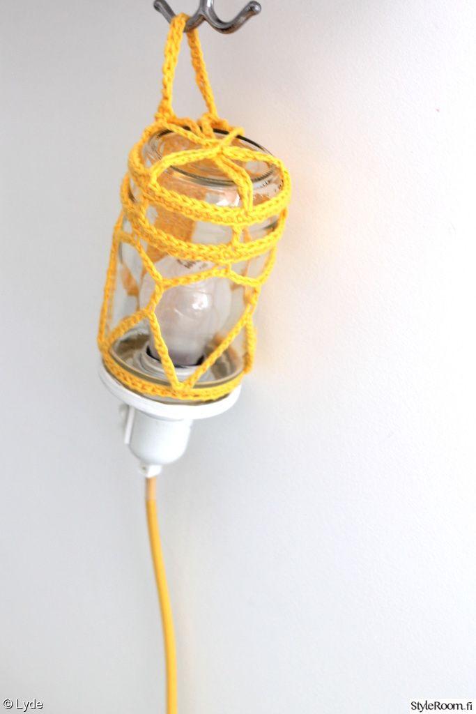 tsi,valaisin,lamppu,virkattu,keltainen,Tee itse - DIY