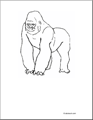 coloring page gorilla color this picture of a gorilla or trace and cut out