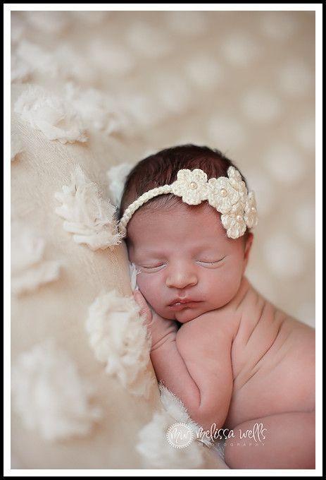 014495a1569 Crochet. Five Bloom Flower. Baby Headband. Newborn Photography Prop.