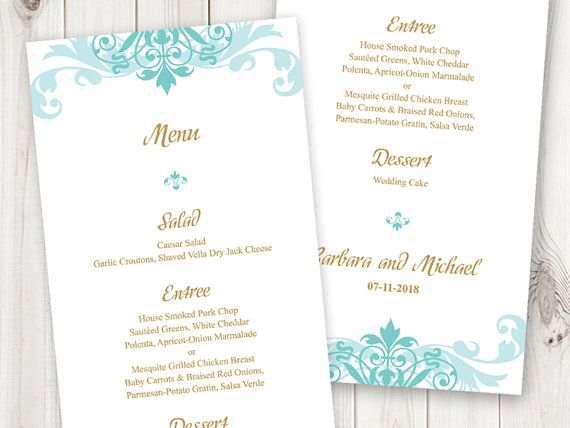 Printable Wedding Menu Cards Template  - formal dinner menu template