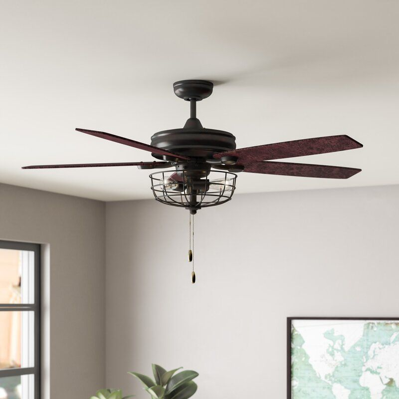52 Glenpool 5 Blade Caged Ceiling Fan With Pull Chain And Light Kit Included Ceiling Fan Rustic Ceiling Fan Ceiling Fans Without Lights