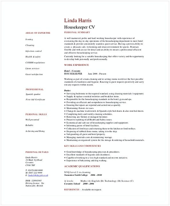 Hotel Housekeeper Resume , Hotel and Restaurant Management , Being - resume consultant