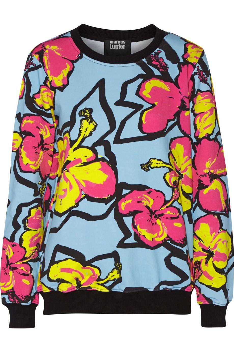 Markus LupferAnna printed neon cotton-jersey sweatshirt