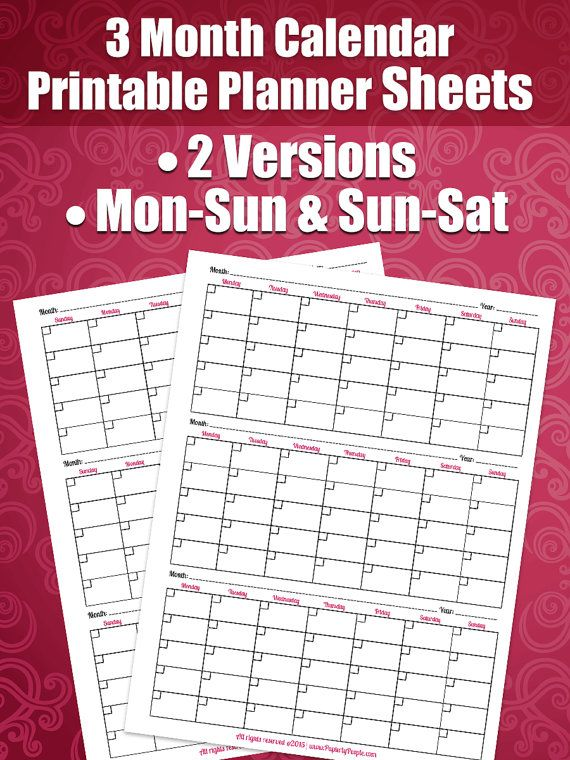 3 Month Calendar Printable Planner Sheets 8.5X11 by ...