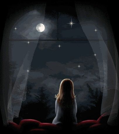 Alone girl dream cartoon art wish moon caricatures - Cartoon girl images hd ...